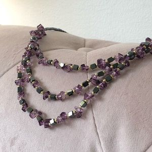 NEW| Genuine Amethyst 3 Layers Necklace
